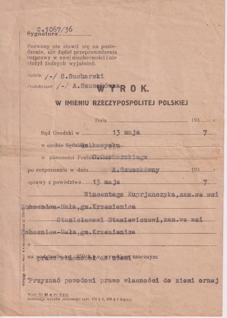 SĄD GRODZKI WOŁKOWYSK WYROK 1937