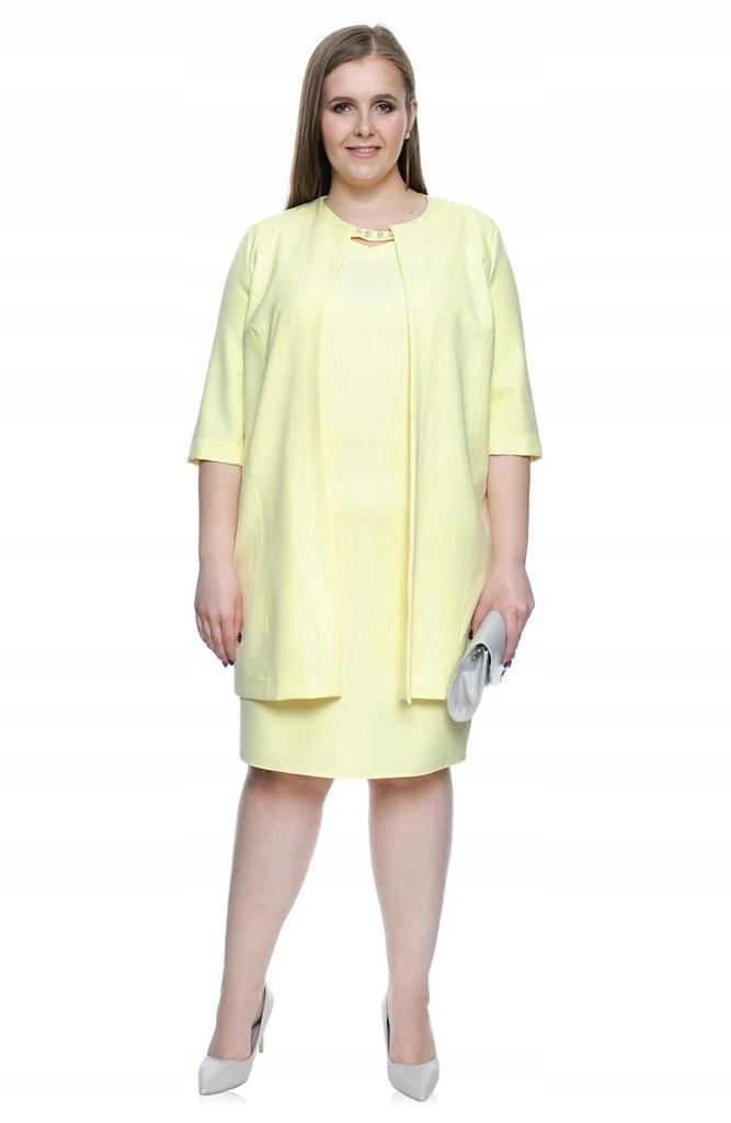Żółty komplet sukienka + żakiet 60