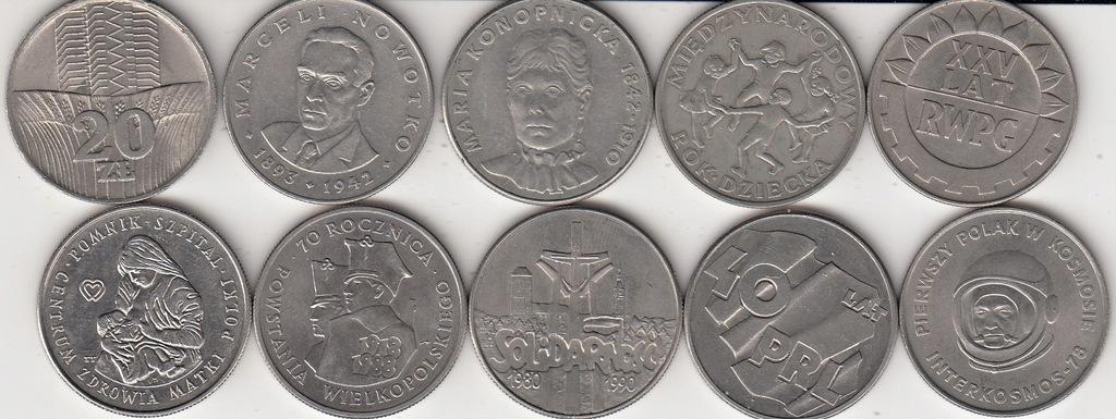 PRL ZESTAW 10 monet okolicznosciowych ladne stany