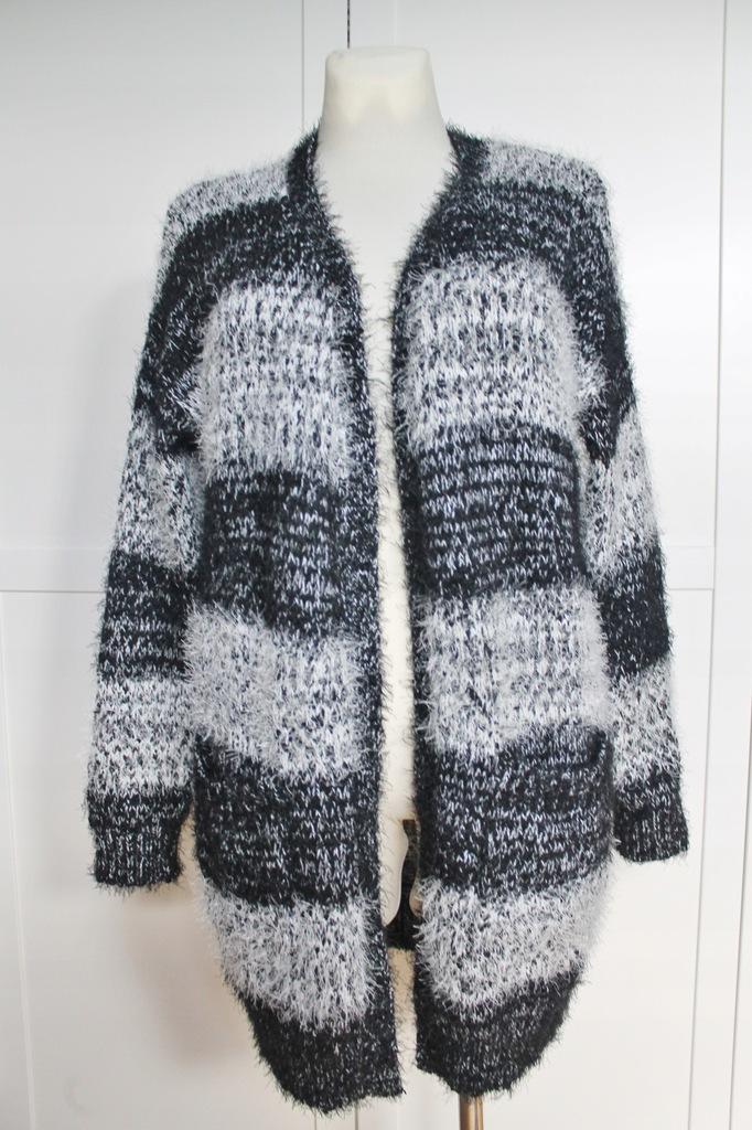 sweter / kardigan / szary / puchaty / NOWY / L