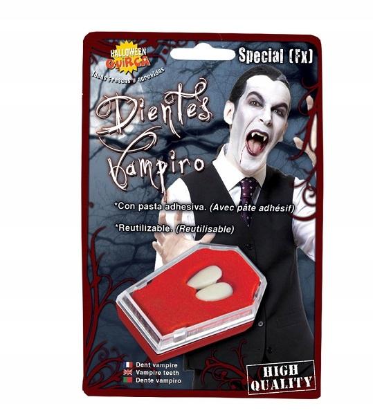 Kły wampira z klejem na Halloween party