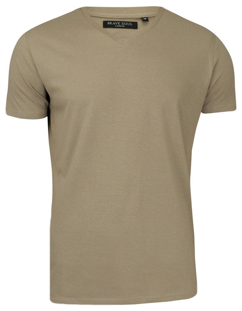 T-Shirt męski - V-Neck - Brave Soul - beżowy - XXL