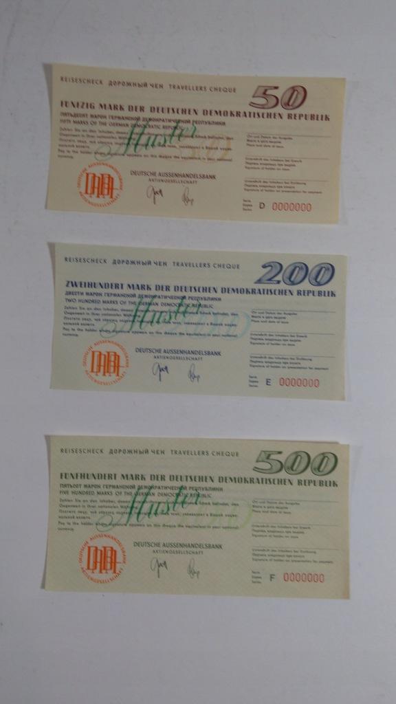 Czek podróżny, specimen, 50, 200, 500 Marek