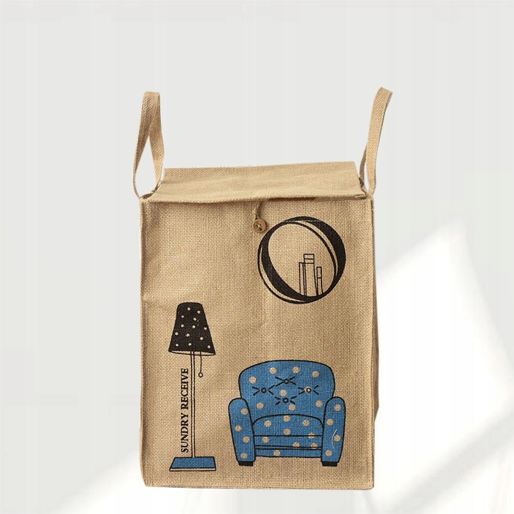 Home Jute Dirty Clothes Storage Bag Beautiful Prin