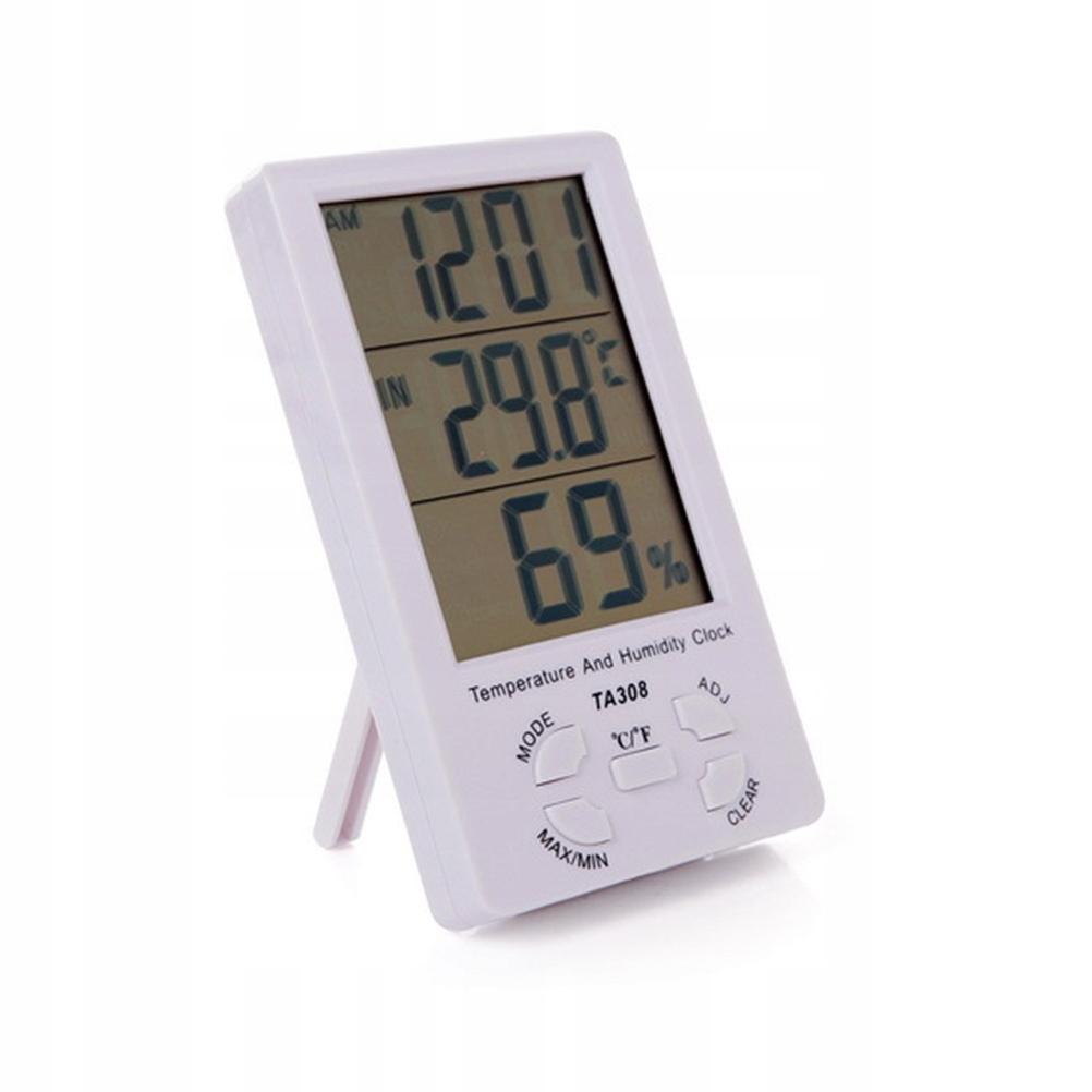 Duży LCD Cyfrowy higrometr Zegar Wewnętrzny termom
