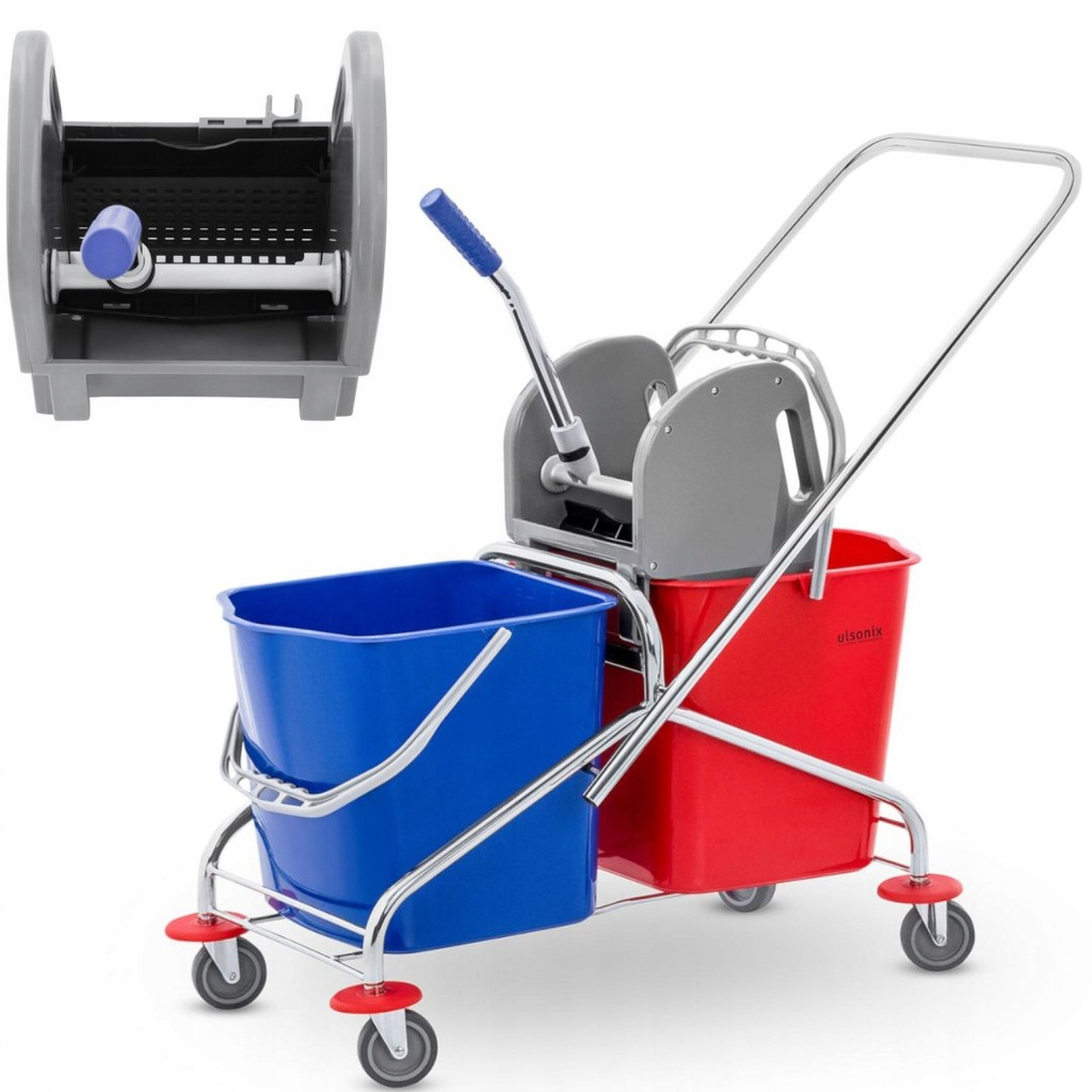 Wózek do mycia podłóg z prasą i uchwytem do mopa d