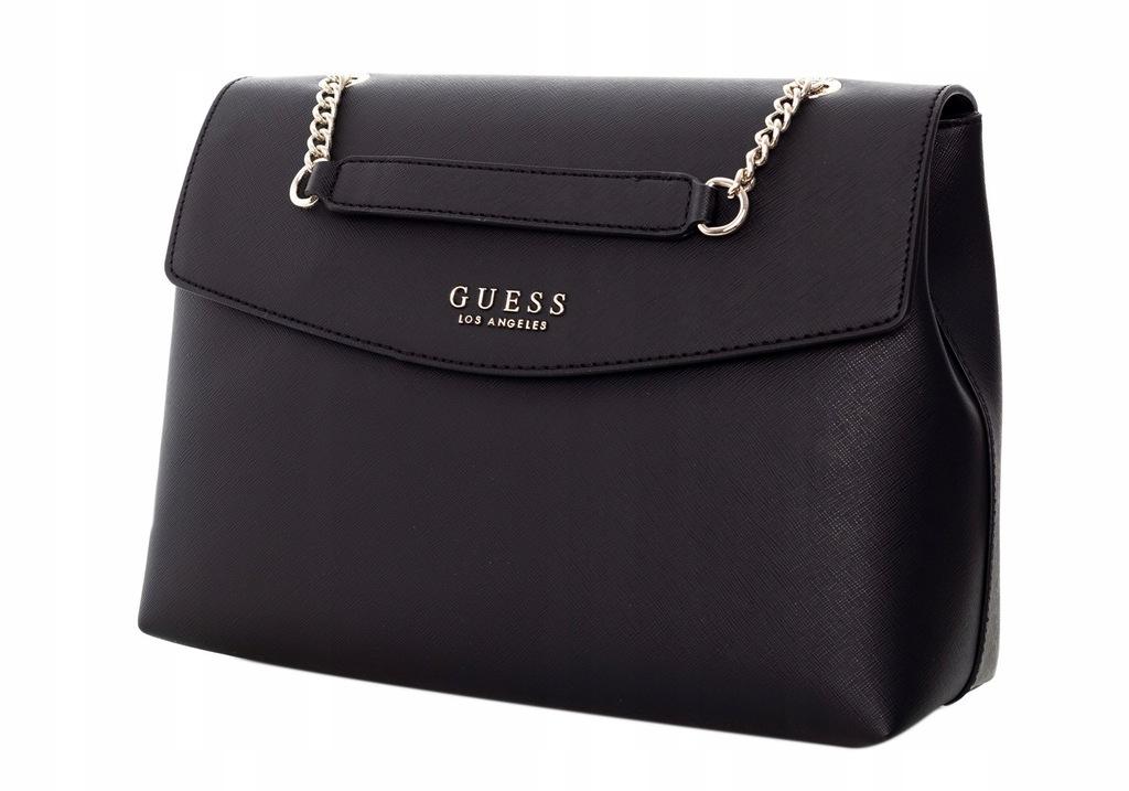 Nowa torebka Guess na ramię oryginalna duża A4 czarna złote logo łańcuszek robyn