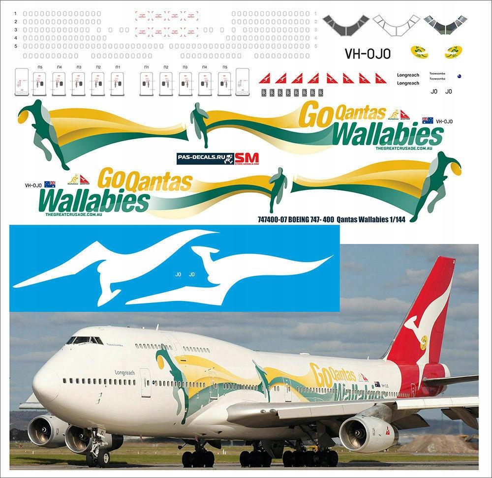 Boeing 747-400 Qantas Wallabies 1/144 Pas-Decals