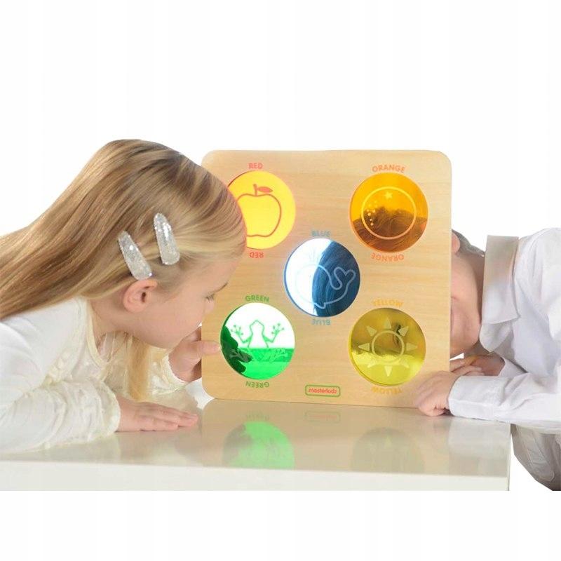Kolorowe Szkiełka Drewniana Tablica Sensoryczna Ma