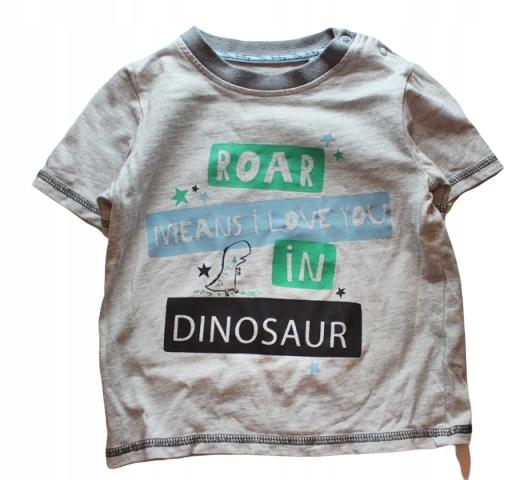 TU Bluzka T-shirt Dinozaur Roar 80 86