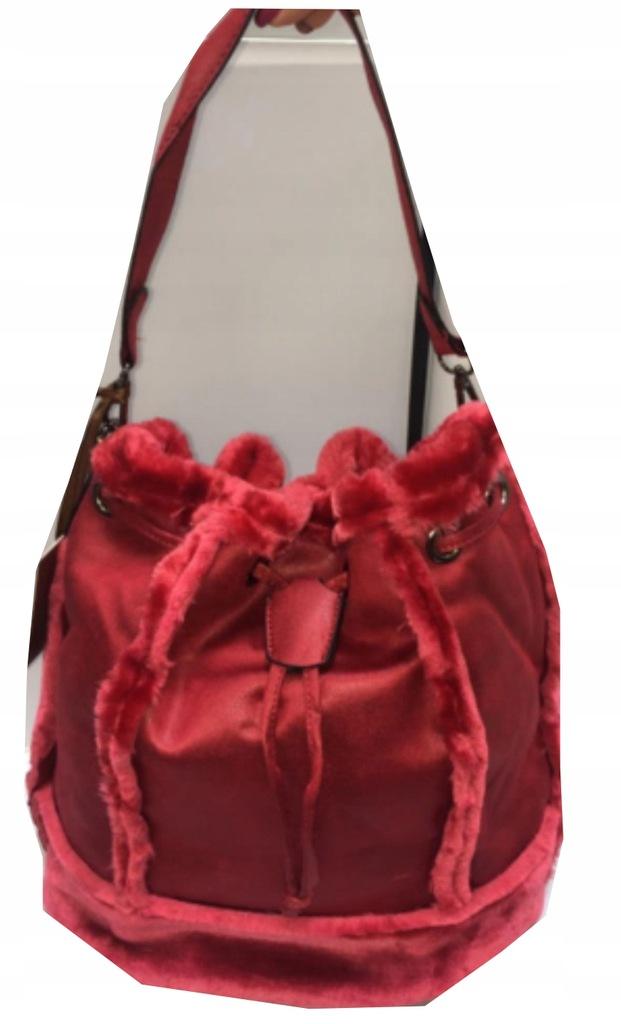 MELAS torebka worek z futerkiem czerwona