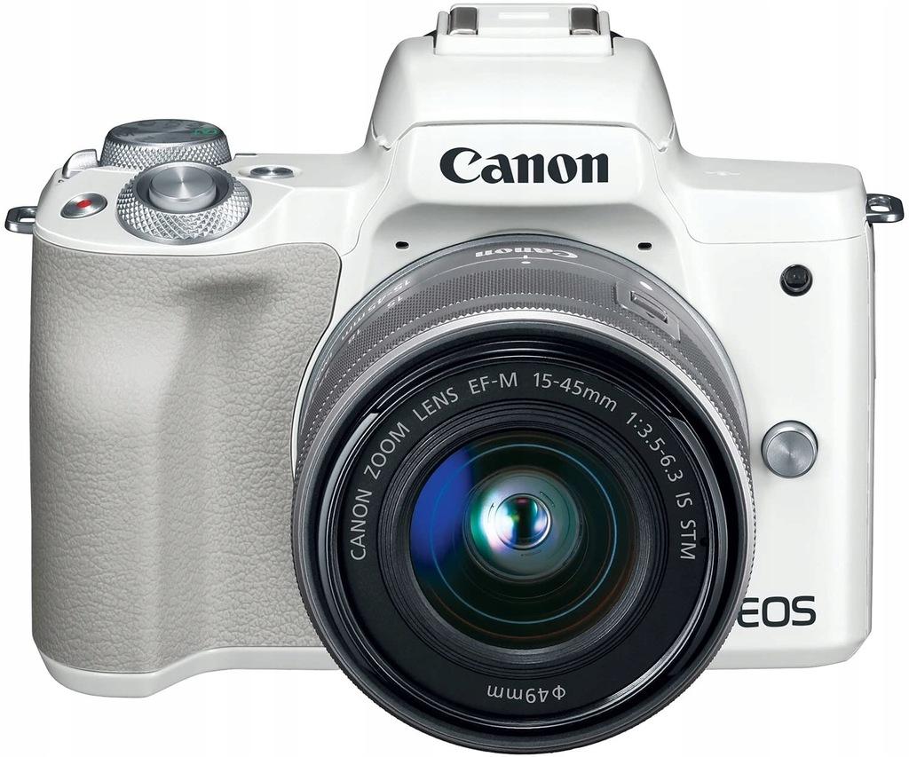 Aparat Canon EOS M50 Biały + ob. EF-M 15-45 mm