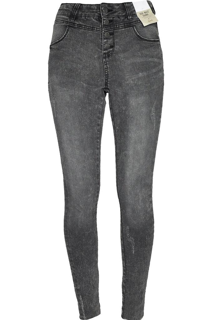 Primark Czarne Spodnie Jeansy Przetarcia S 36