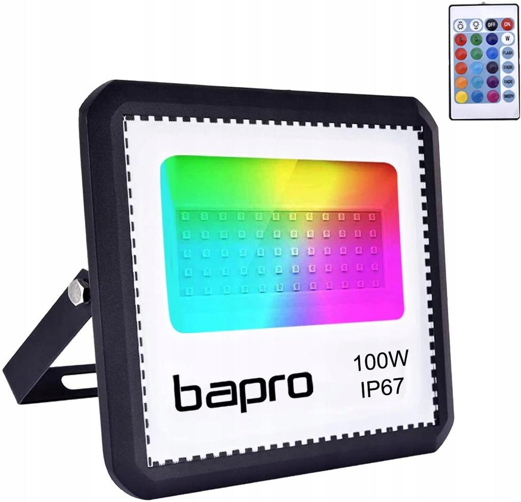 BAPRO Naświetlacz 100W LED RGB z pilotem IP67
