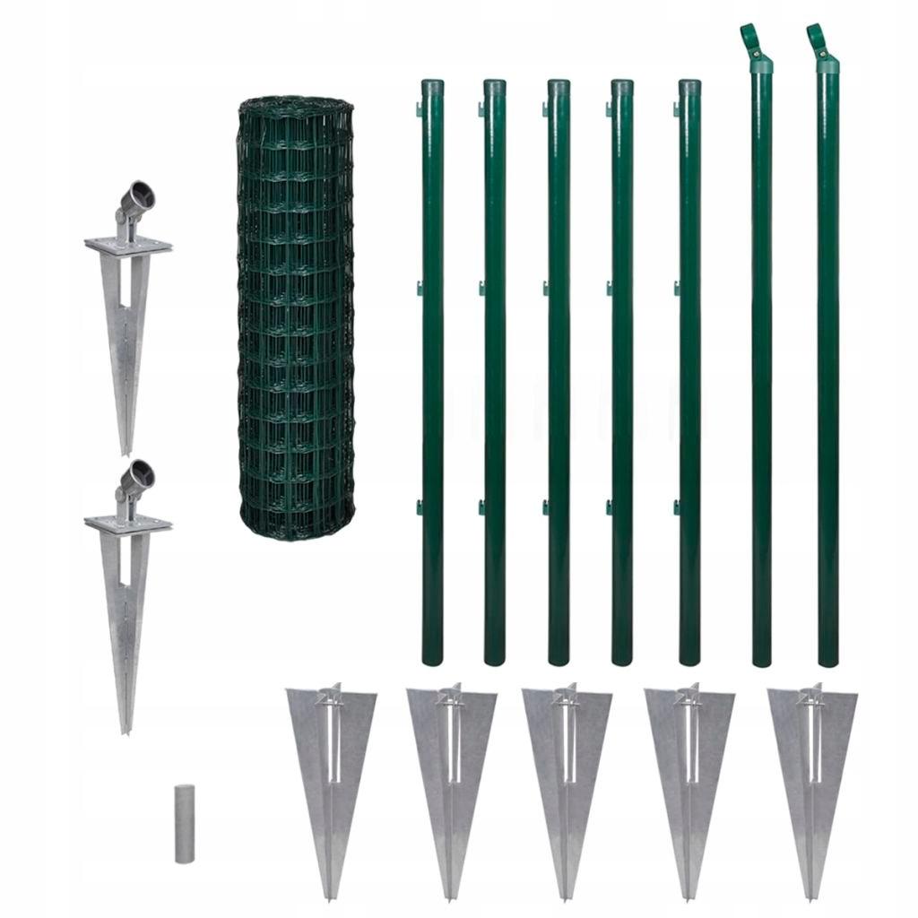 Euro ogrodzenie z kotwami, 10x1 m, zielone, stalow