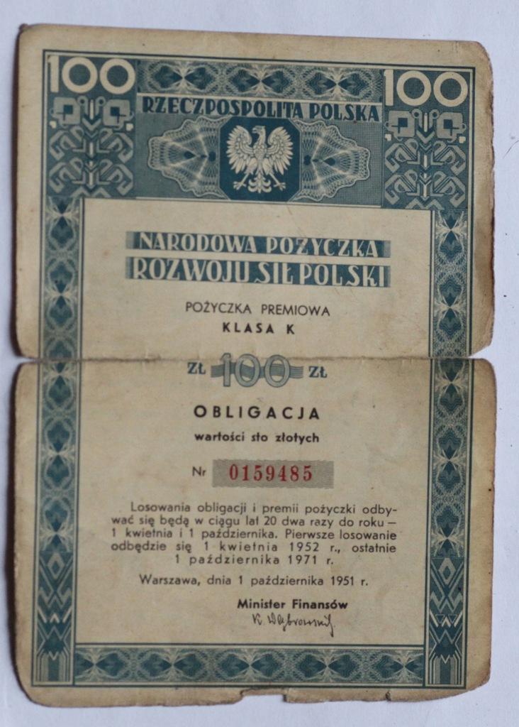 Obligacja Narodowa Pożyczka Rozwoju Sił Pol 100 zł