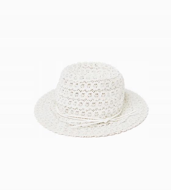 koronkowy kapelusz ZARA rozm M 54 cm ok 10 lat