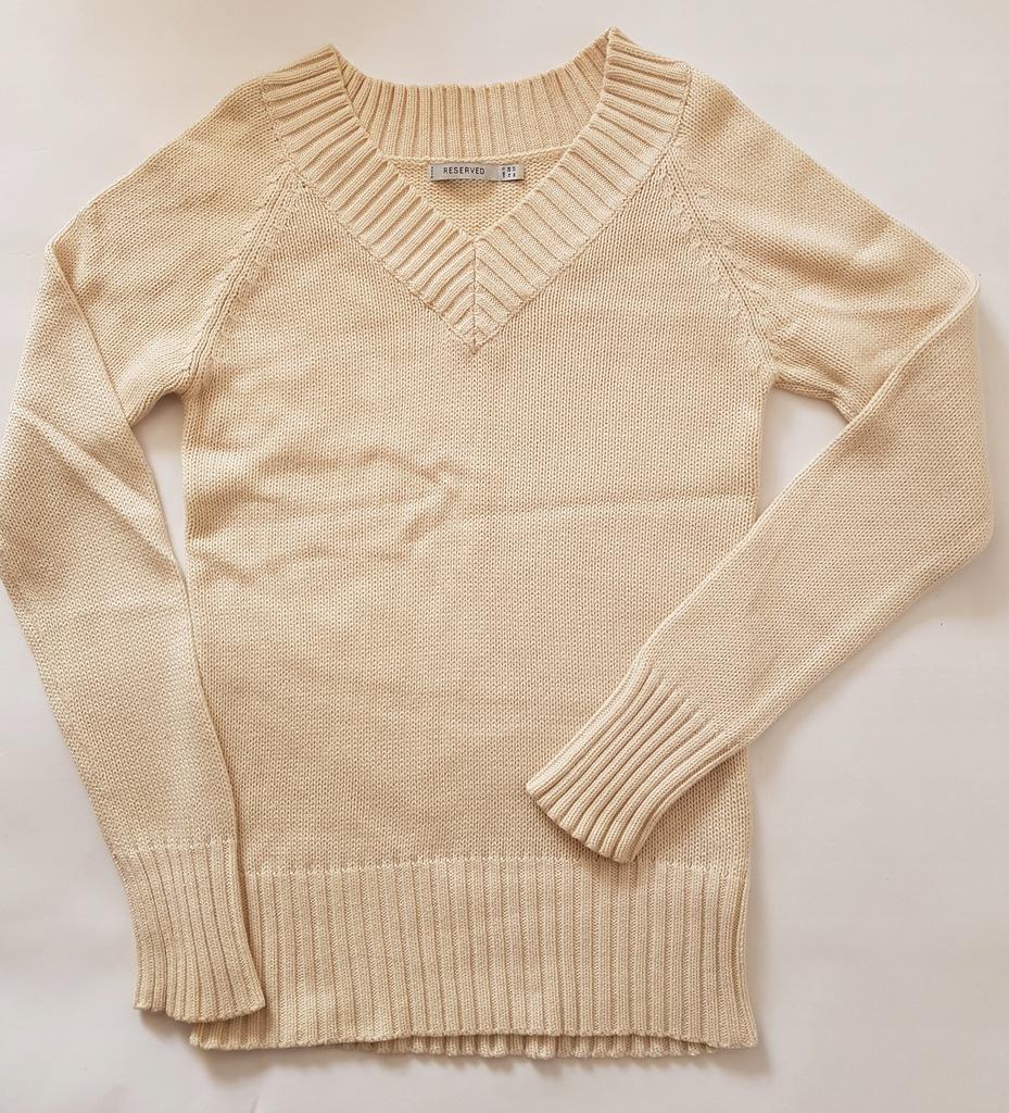 Sweter RESERVED 36 S dekolt w serek ecru klasyczny