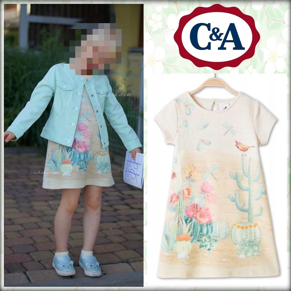 C&A sukienka pastelowa kaktusy ptaszki 110