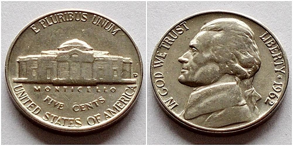USA 5 centów 1962r D