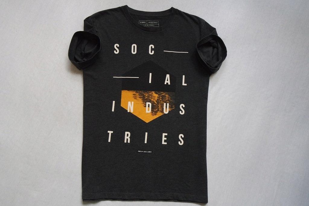 JACK JONES CORE koszulka t-shirt szara logowna___L