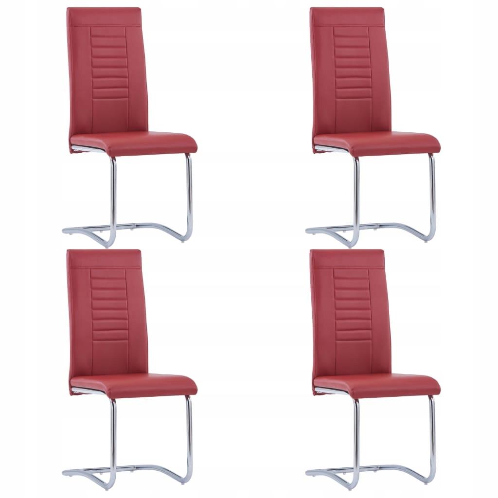 Krzesła jadalniane, 4 szt., czerwone, sztuczna skó