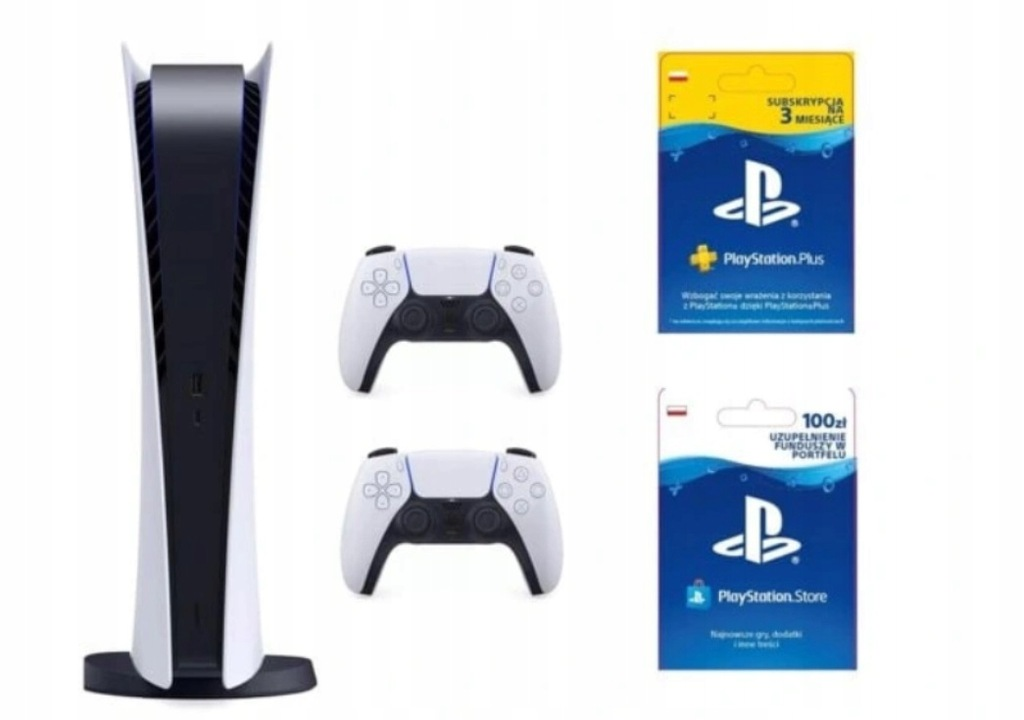 PlayStation 5 Digital * 2 Pady * PS+ 3m * PSN100zł