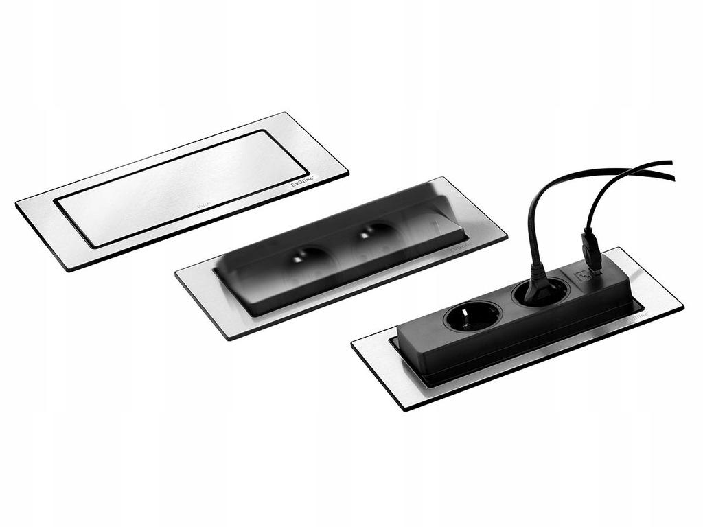 Listwa gniazdo blatowe EVOline BackFlip CZARNY USB