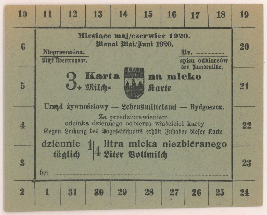 4568. Bydgoszcz Karta na Mleko niezbierane 1920