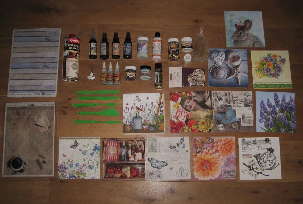 Zestaw decoupage preparaty farby mgiełki + inne