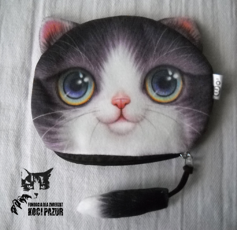 Portmonetka z kotem (duża) - szary