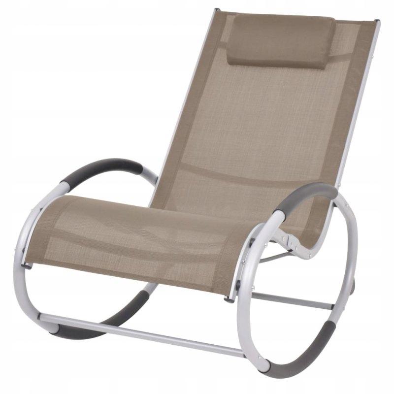 Ogrodowy fotel bujany, taupe, textilene