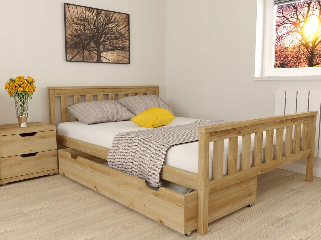 Łóżko AGA drewniane Sosna 90x200 + Stelaż