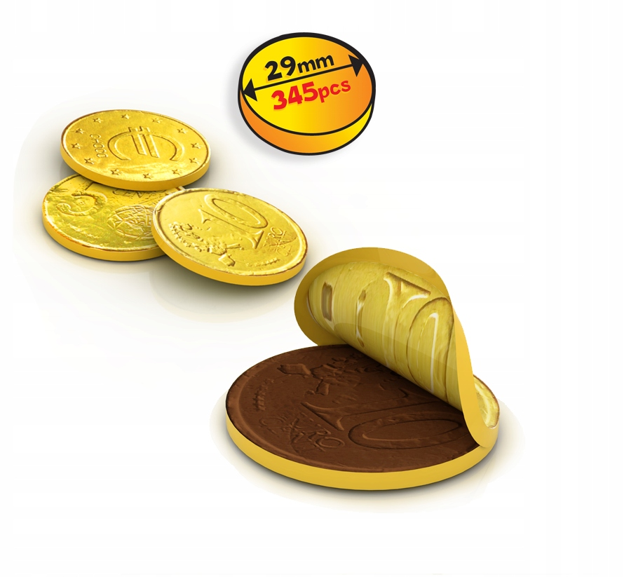 Złote Czekoladowe Monety Euro! Pyszne! 100 szt