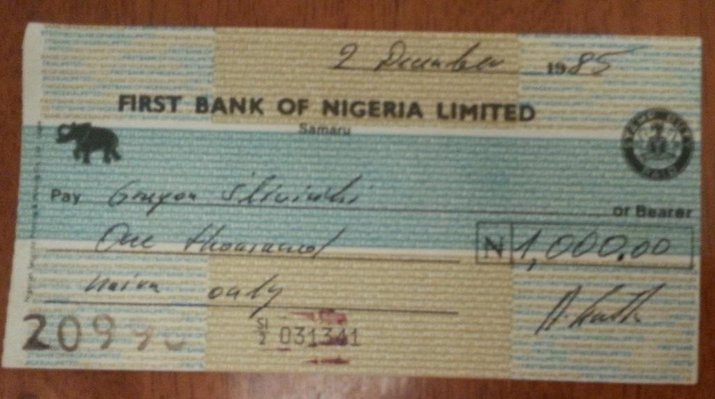 CZEK BANK NIGERIA Z 1985 R