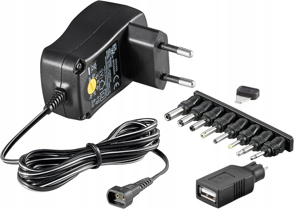 Uniwersalny zasilacz 3 V - 12 V USB 8 wtyczek