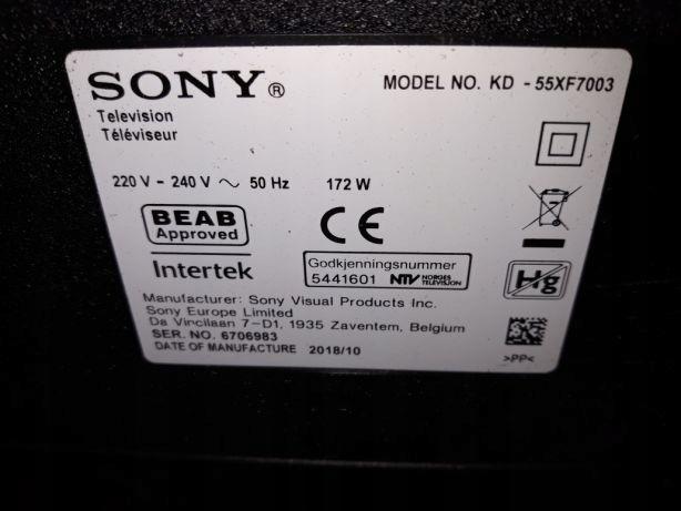 Sony KD-55XF7003 podświetlenie matrycy paski led