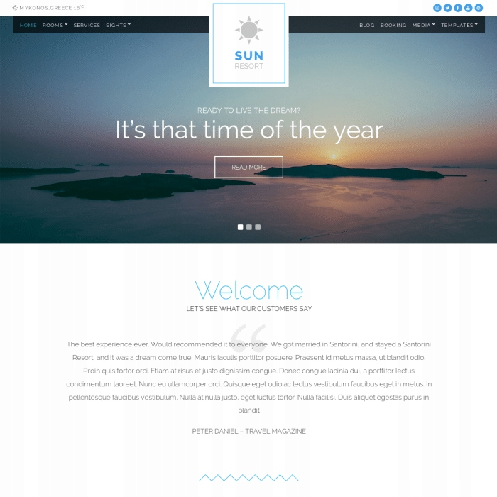 Szablon Sun Resort Hotel WordPress Theme