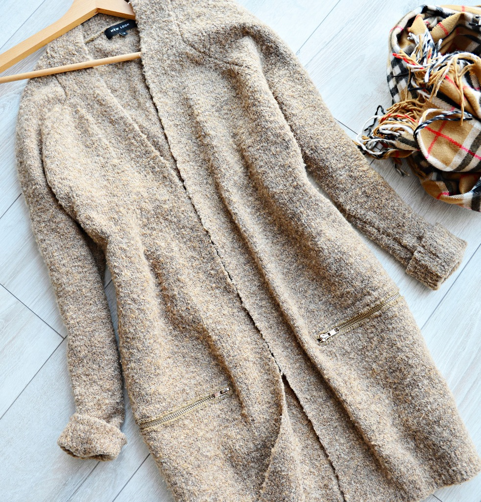 New Look camelowy długi kardigan r. 36 38 40