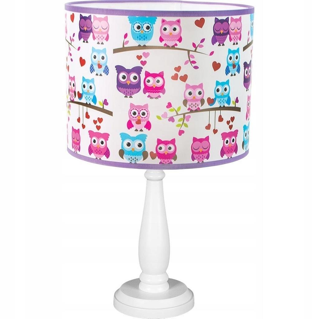 Lampa biurkowa dziecięca Verka kolorowe sówki