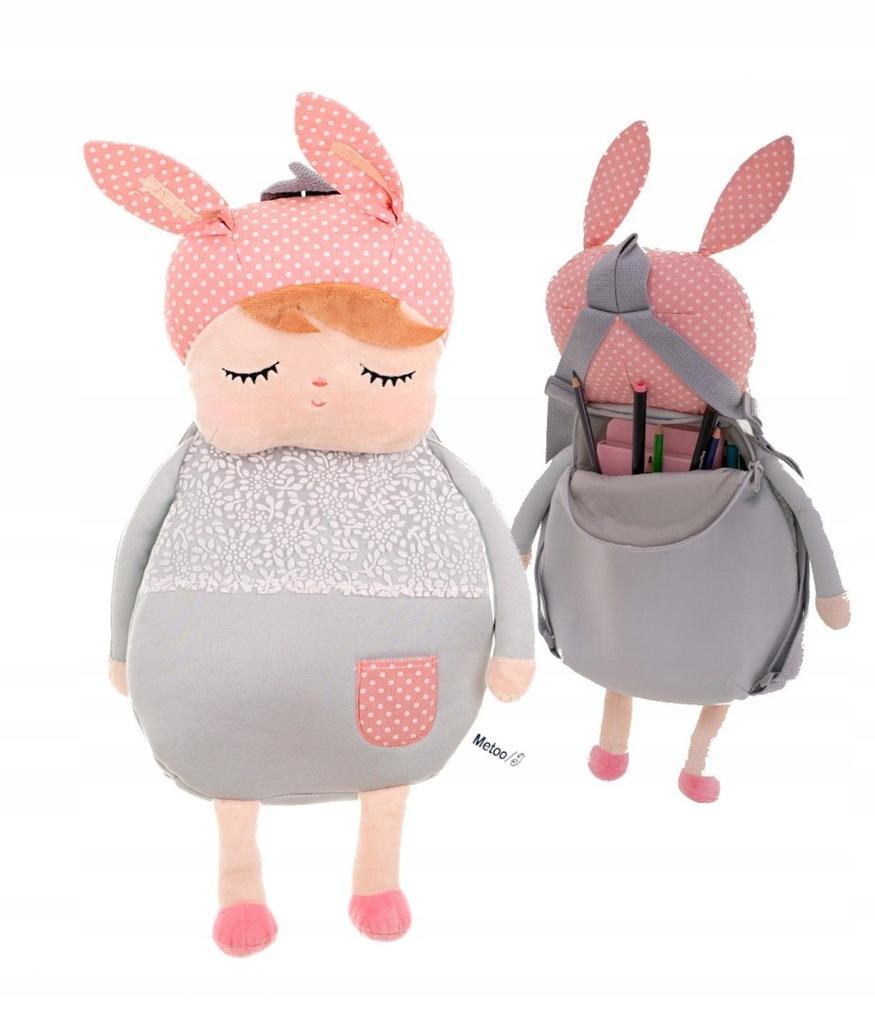 Plecak przedszkolaka pluszowy lalka szara METOO 40