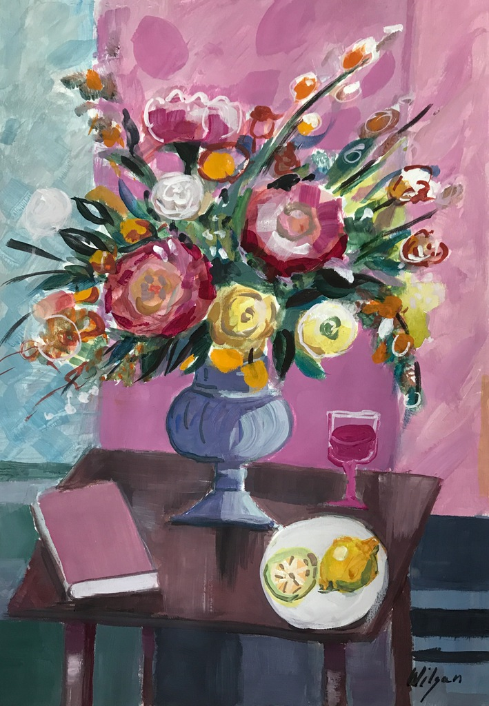 Wilgan, Kwiaty, akwarela/tempera, 35x50
