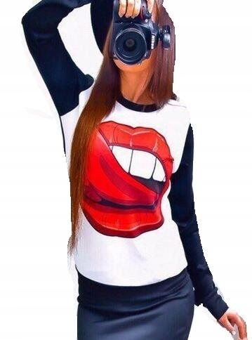 bluza damska biało czarna duże czerwone usta L