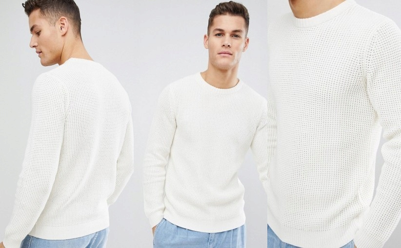 C2E205*SELECTED HOMME SWETER MĘSKI BEŻOWY M R07
