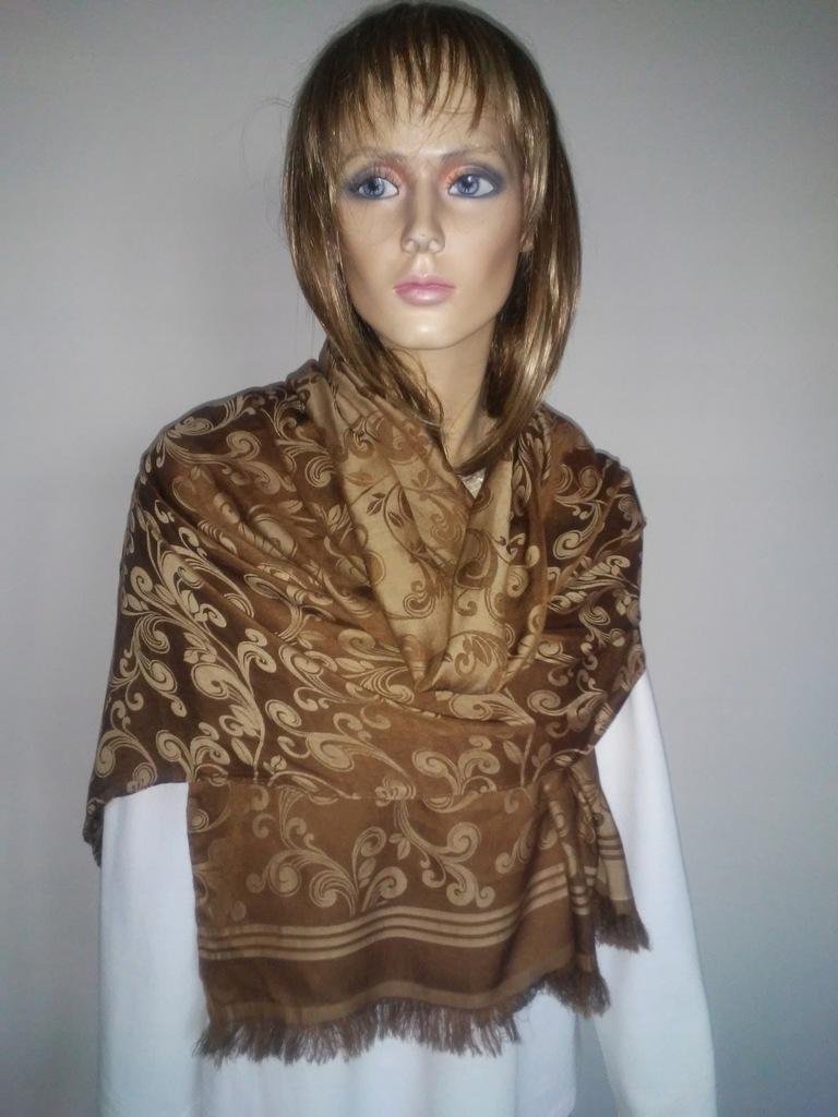Elegancki szal damski 50% bawełna 50% wiskoza