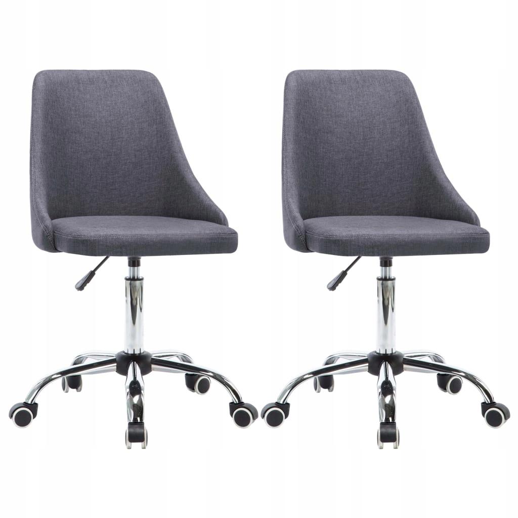 vidaXL Krzesła biurowe na kółkach, 2 szt., tkanina