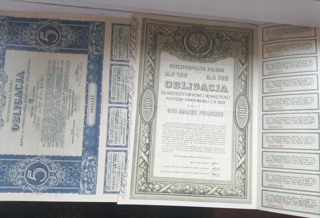 OBLIGACJA 100 MAREK POLSKICH 1920 + 5 DOLARÓW 1931