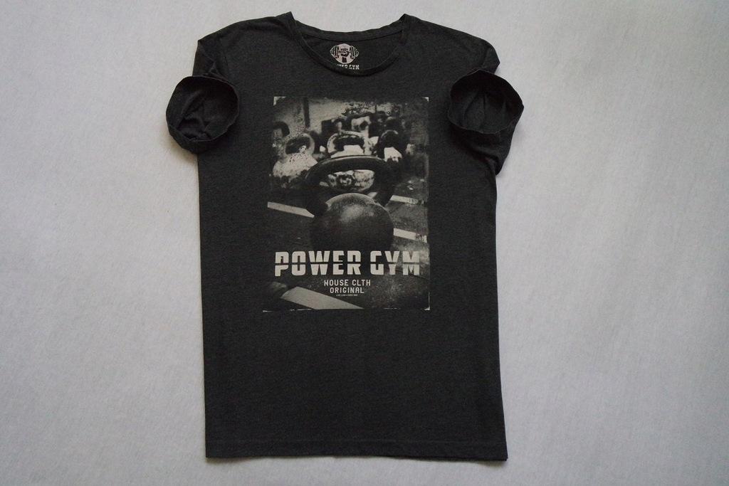 HOUSE koszulka szara t-shirt nadruk POWER GYM___XL