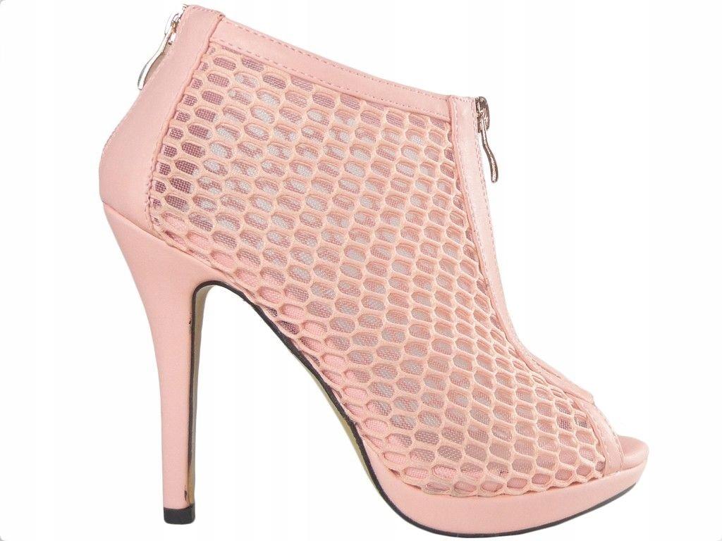 Różowe buty ażurowe sandałki damskie na szpilce 38