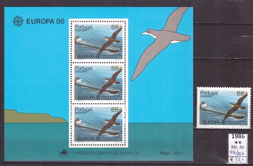 MADERA 1986 - Ptaki (Birds), Mi.106+Bl 7 ** MNH